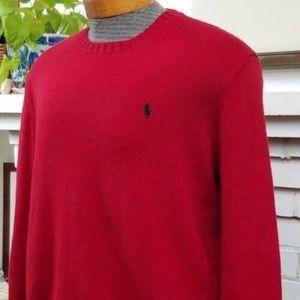 Polo Ralph Lauren Red Pima Cotton Sweater Large